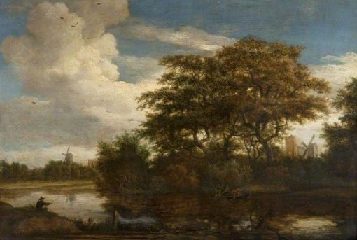 River Landscape with Fishermen | Meindert Hobbema | Oil Painting