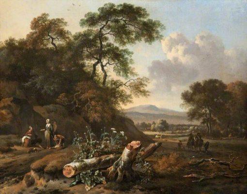 Landscape with a Fallen Tree | Johannes Lingelbach | Oil Painting