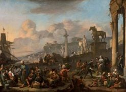 An Imaginary Mediterranean Seaport | Johannes Lingelbach | Oil Painting