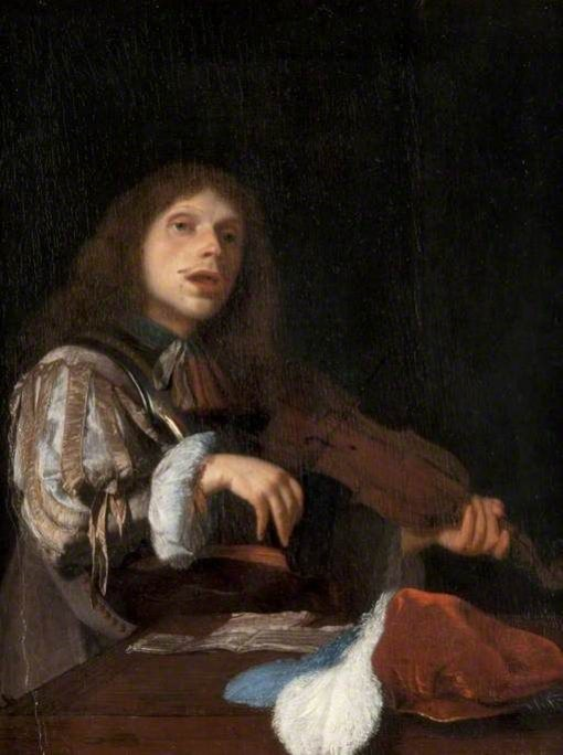 A Young Man Singing to a Violin | Jacob Ochtervelt | Oil Painting