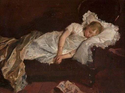 A Girl Asleep on a Sofa | Jacob Maris | Oil Painting