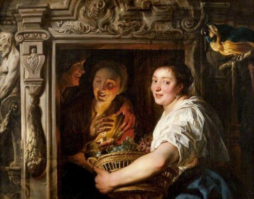 A Maidservant with a Basket of Fruit and Two Lovers | Jacob Jordaens | Oil Painting