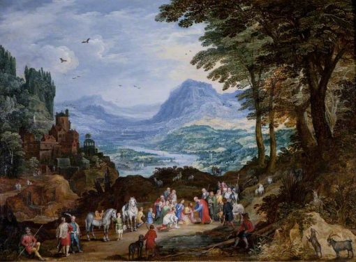 A Mountainous Road Scene with the Story of Saint Peter and Cornelius | Jan Brueghel the Elder | Oil Painting