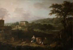 Landscape with Pastoral Figures and Animals from Milton's 'L'Allegro' | Francesco Zuccarelli | Oil Painting