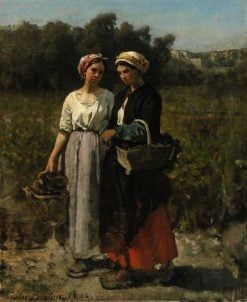 Two Young Women Picking Grapes (Study for The Vintage at Chateau Lagrange) | Jules Adolphe Breton | Oil Painting