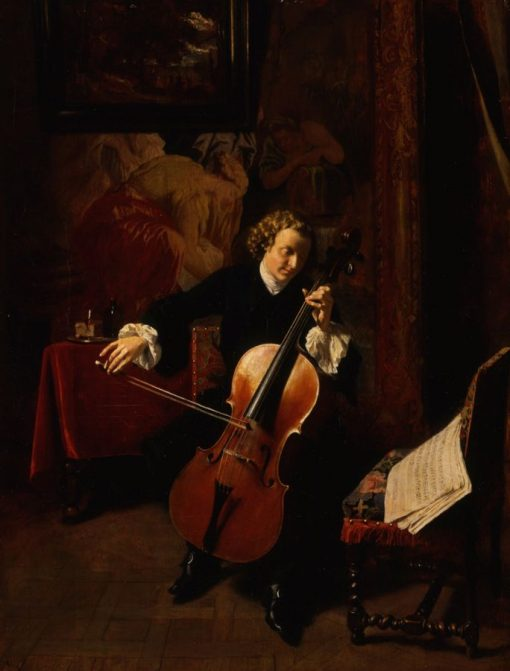Young Man Playing the Cello | Jean Louis Ernest Meissonier | Oil Painting