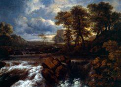 Landscape with Waterfall   Jacob van Ruisdael   Oil Painting