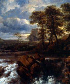 Landscape with Waterfall | Jacob van Ruisdael | Oil Painting