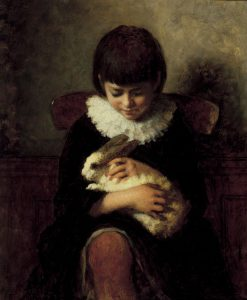 Child with a Rabbit | Eastman Johnson | Oil Painting