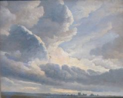 Study of Clouds with a Sunset near Rome | Simon Denis | Oil Painting