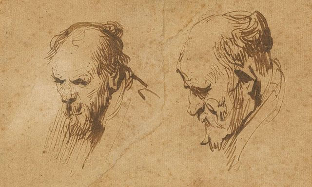 Two Studies of the Head of an Old Man | Rembrandt van Rijn | Oil Painting