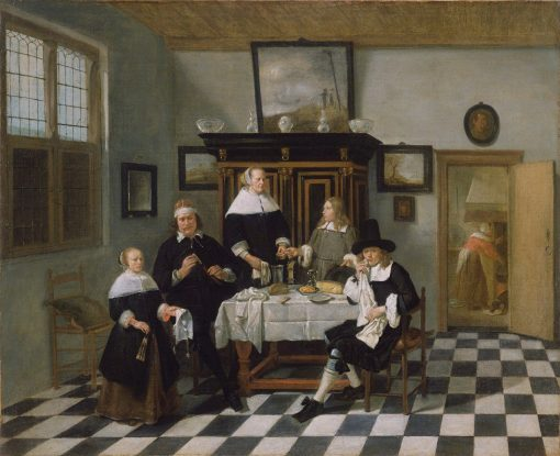 Family Group at Dinner Table   Quiringh van Brekelenkam   Oil Painting