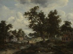 A Wooded Landscape with travelers on a Path through a Hamlet | Meindert Hobbema | Oil Painting