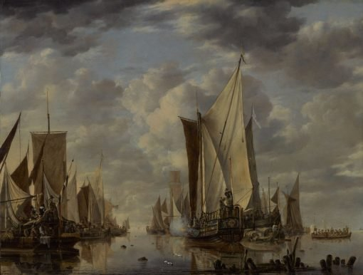 Shipping in a Calm at Flushing with a States General Yacht Firing a Salute | Jan van de Cappelle | Oil Painting