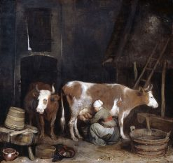 A Maid Milking a Cow in a Barn | Gerard ter Borch | Oil Painting