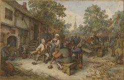 Peasant Festival on a Town Street | Adriaen van Ostade | Oil Painting