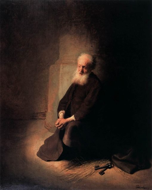 Apostle Peter Kneeling in Prison | Rembrandt van Rijn | Oil Painting
