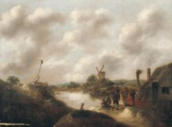 Landscape with Farmers on a Riverbank   Klaes Molenaer   Oil Painting