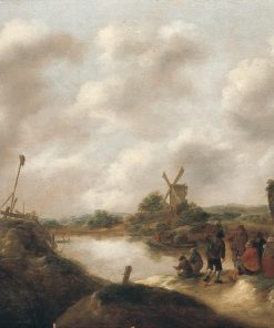 Landscape with Farmers on a Riverbank | Klaes Molenaer | Oil Painting