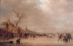 Winter Landscape with Skaters on a Lake | Jan van Goyen | Oil Painting