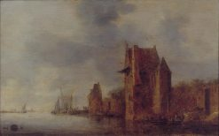 City Wall and Two Towers on a River | Jan van Goyen | Oil Painting
