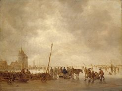 Frozen River with Skaters   Jan van Goyen   Oil Painting