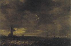 Thunderstorm over a Lake   Jan van Goyen   Oil Painting