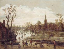 Winter View with Ice Skaters | Jan van Goyen | Oil Painting