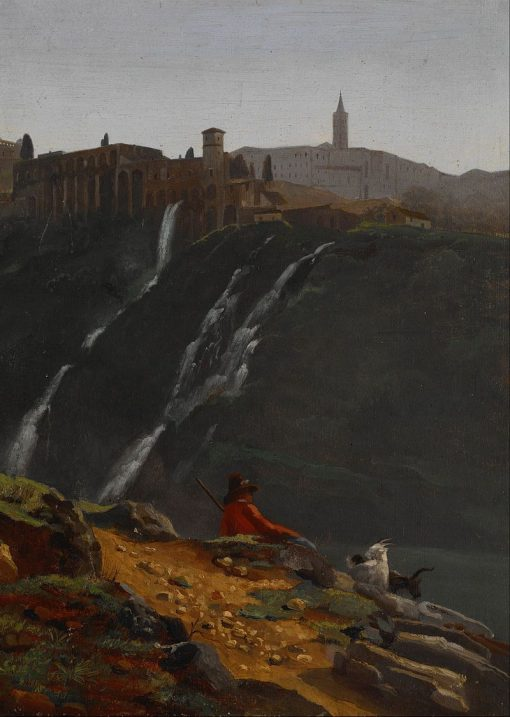 Goatherd Opposite the Falls of Tivoli | Achille Etna Michallon | Oil Painting