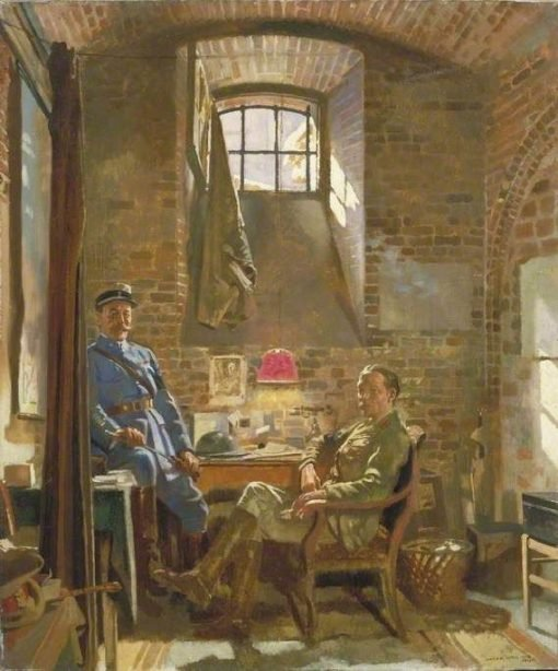 In Their Cellar in Amiens(also known as Captain R Maude and Colonel Du Tiel)   Sir William Orpen   Oil Painting