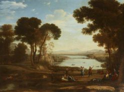 Landscape with Two Figures Dancing with Tambourines (The Mill) (after Claude Lorrain) | Jakob Philipp Hackert | Oil Painting