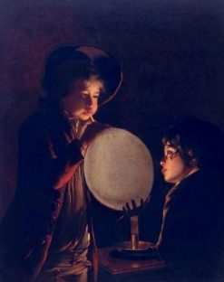 Two Boys by Candelight Blowing a Bladder Maker | Joseph Wright of Derby | Oil Painting