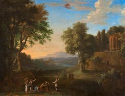 Landscape with Mercury and Herse | Herman van Swanevelt | Oil Painting
