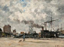 The Wharf - Shipping in Antwerp Harbour | Eugene Louis Boudin | Oil Painting