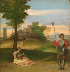 An Idyll: A Mother and a Halberdier in a Wooded Landscape | Titian | Oil Painting