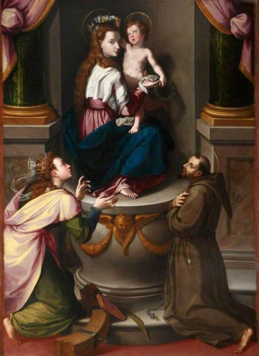 Madonna and Child with Saint Catherine of Alexandria and Saint Francis of Assisi | Alessandro Allori | Oil Painting