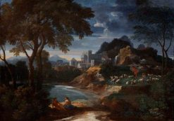 An Italianate River Landscape with a Villa and Shepherds Resting with their Flock by a Pond | Gaspard Dughet | Oil Painting