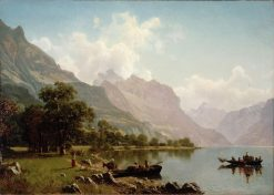 Swiss Mountain Scene | Albert Bierstadt | Oil Painting