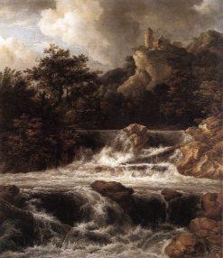 Waterfall with Castle on Rock | Jacob van Ruisdael | Oil Painting