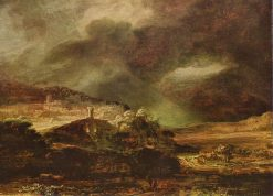 Mountain Landscape with a Thunderstorm   Rembrandt van Rijn   Oil Painting
