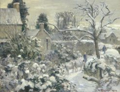 Snowscape with Cows at Montfoucault | Camille Pissarro | Oil Painting