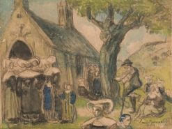 Breton Peasants Outside a Church   Emile Bernard   Oil Painting