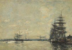 Ships in Harbor | Eugene Louis Boudin | Oil Painting