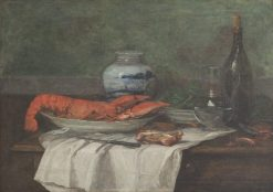 Nature Morte Au Homard Sur un Nappe Blanche (Still Life with Lobster on a White Tablecloth) | Eugene Louis Boudin | Oil Painting