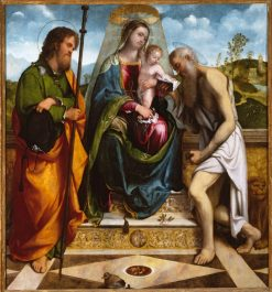 Madonna and Child with Saints James Major and Jerome | Girolamo Romanino | Oil Painting