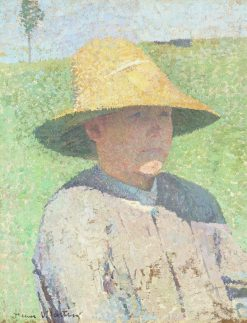 Portrait of a Young Boy Wearing a Straw Hat | Henri Martin | Oil Painting