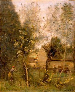 Farm Scene | Jean Baptiste Camille Corot | Oil Painting