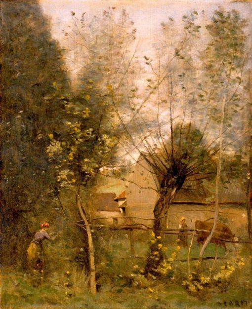 Farm Scene   Jean Baptiste Camille Corot   Oil Painting