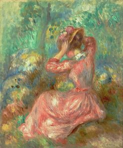 Woman Arranging Her Hat | Pierre Auguste Renoir | Oil Painting
