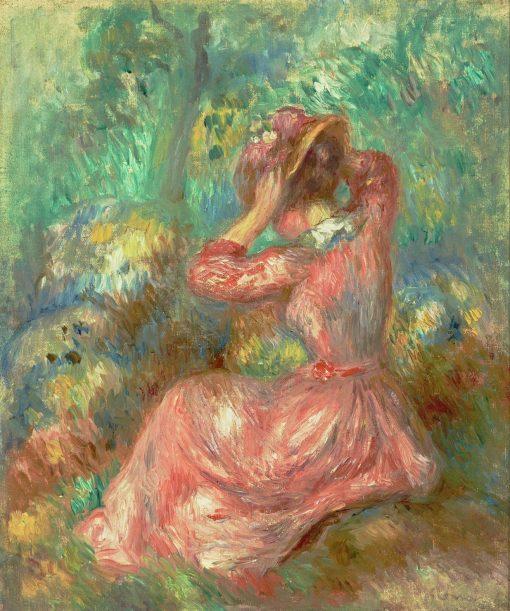 Woman Arranging Her Hat   Pierre Auguste Renoir   Oil Painting